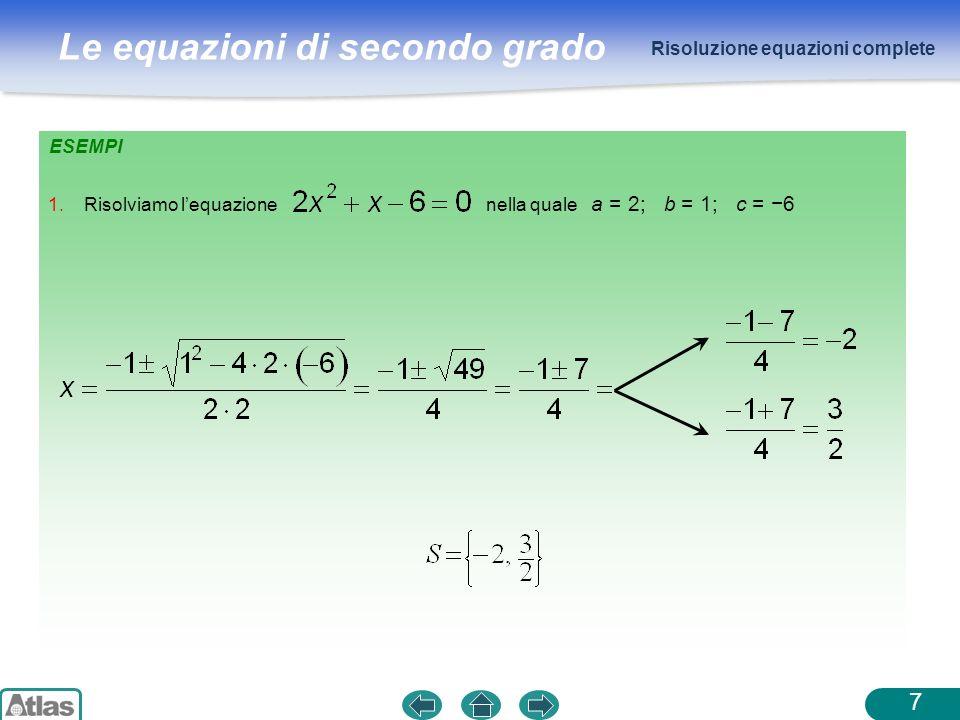 Risoluzione equazioni complete
