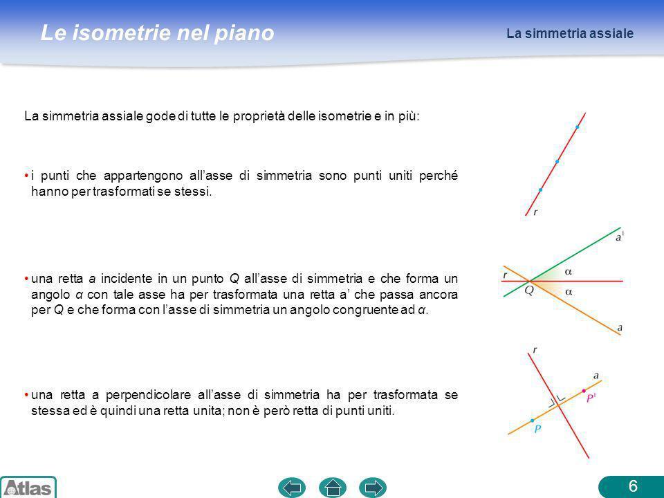 La simmetria assiale La simmetria assiale gode di tutte le proprietà delle isometrie e in più: