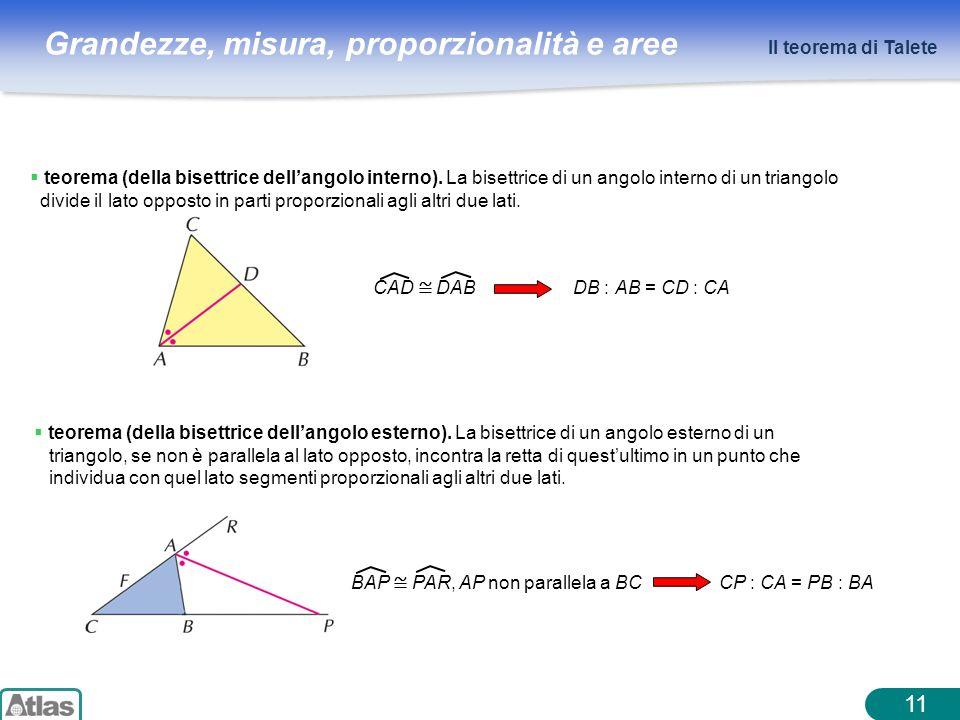 Il teorema di Talete teorema (della bisettrice dell'angolo interno). La bisettrice di un angolo interno di un triangolo.