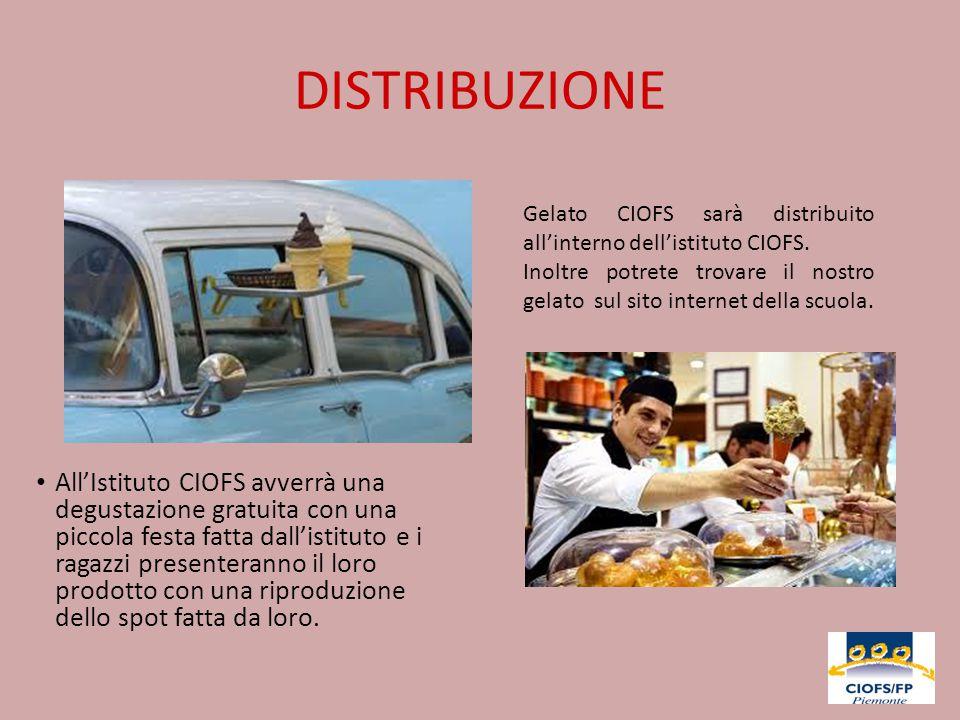 DISTRIBUZIONE Gelato CIOFS sarà distribuito all'interno dell'istituto CIOFS.