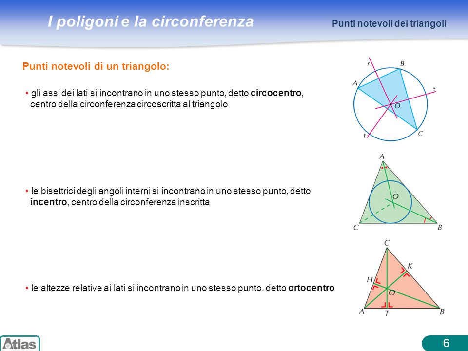 6 Punti notevoli di un triangolo: Punti notevoli dei triangoli