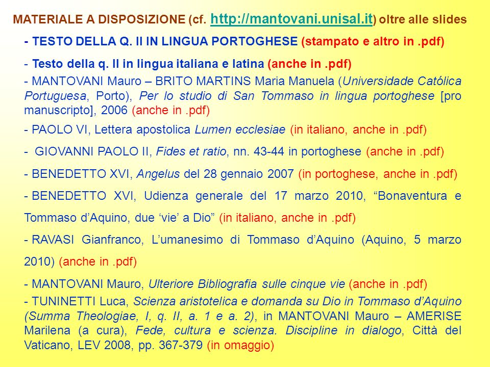 MATERIALE A DISPOSIZIONE (cf. http://mantovani. unisal