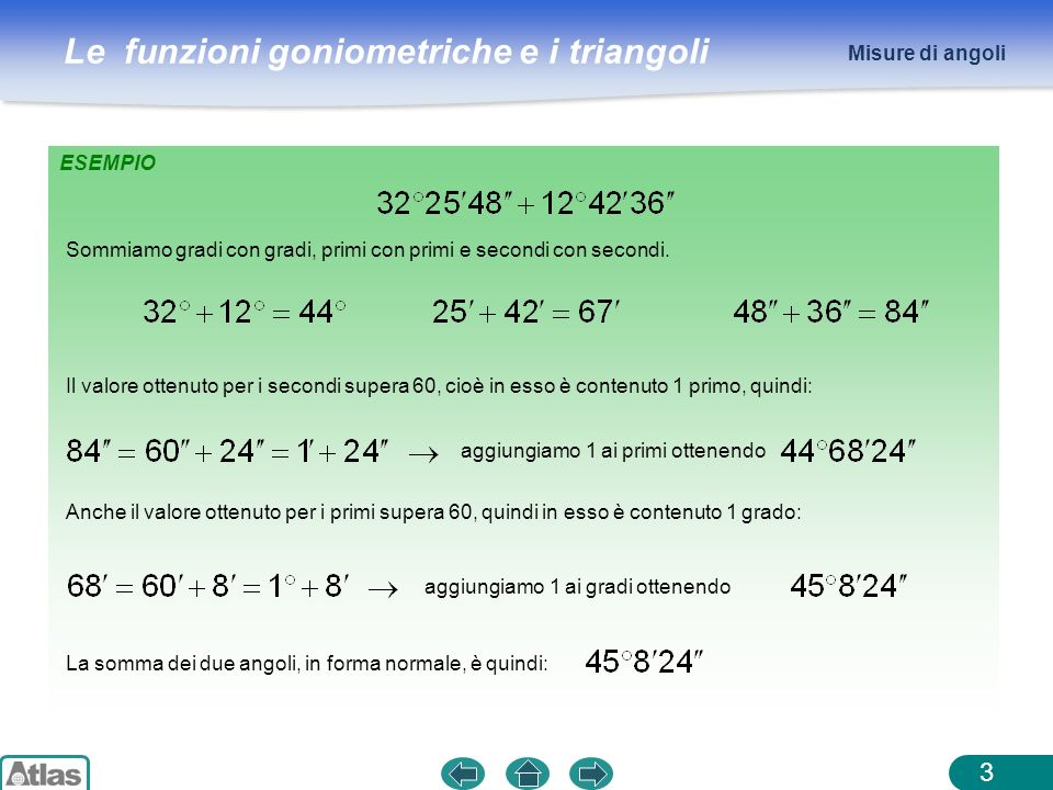 Misure di angoli ESEMPIO. Sommiamo gradi con gradi, primi con primi e secondi con secondi.