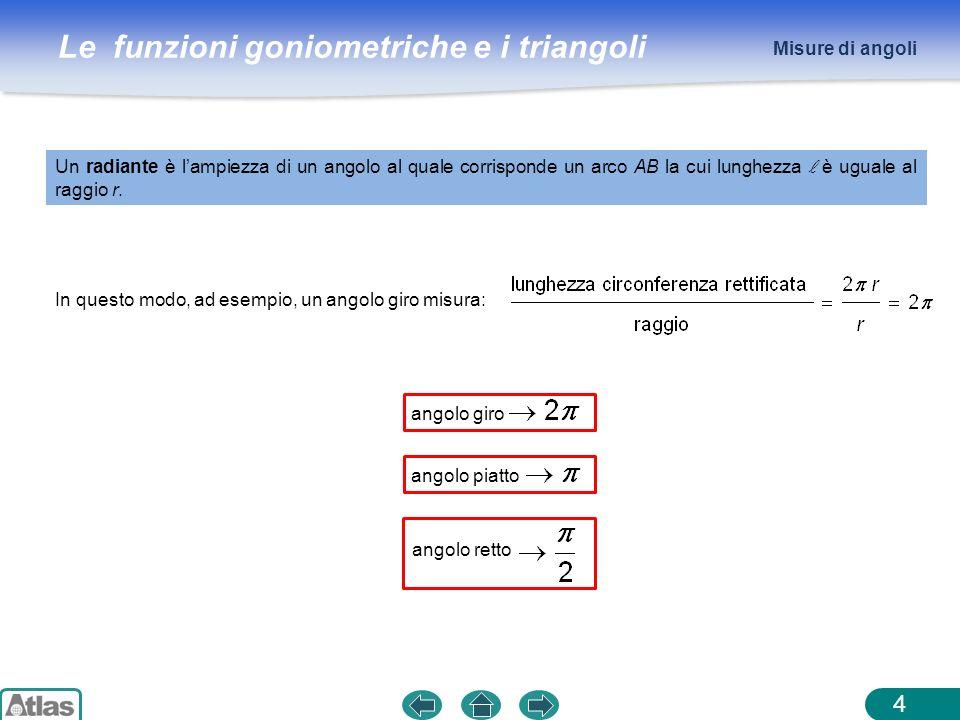 Misure di angoli Un radiante è l'ampiezza di un angolo al quale corrisponde un arco AB la cui lunghezza l è uguale al raggio r.
