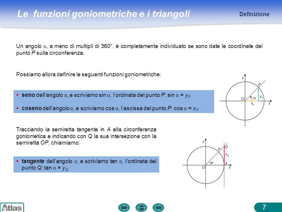 Definizione Un angolo α, a meno di multipli di 360°, è completamente individuato se sono date le coordinate del punto P sulla circonferenza.