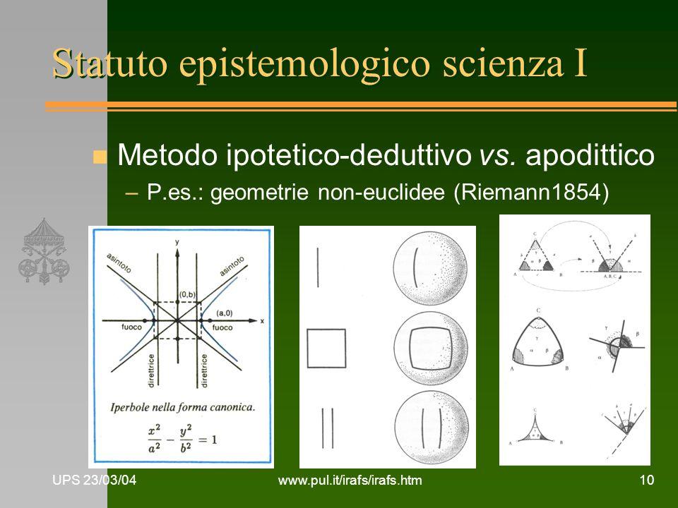 Statuto epistemologico scienza I