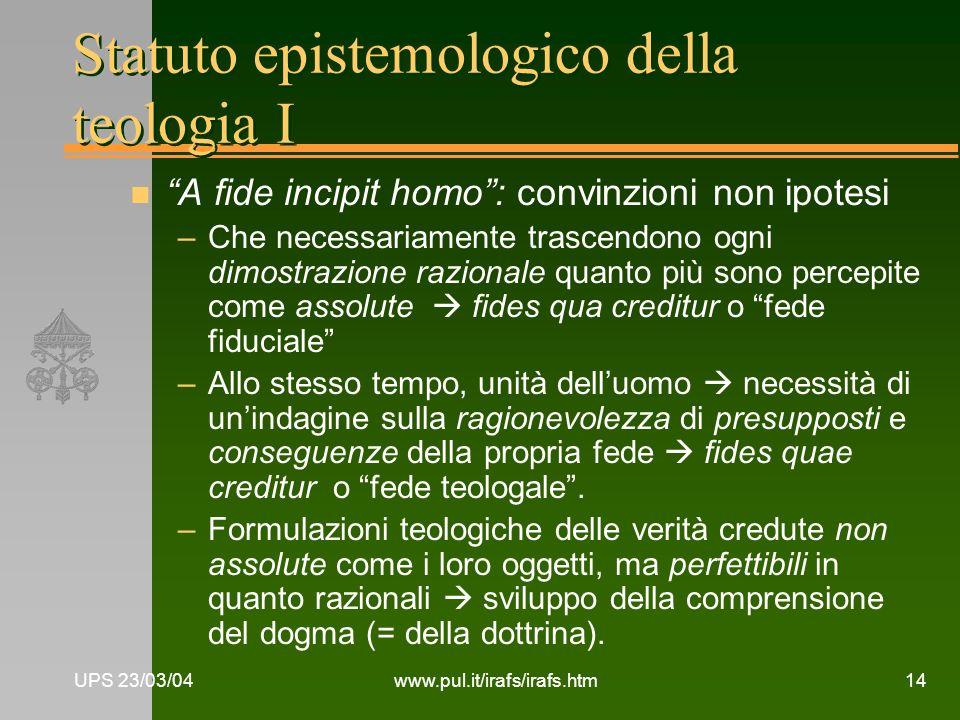 Statuto epistemologico della teologia I