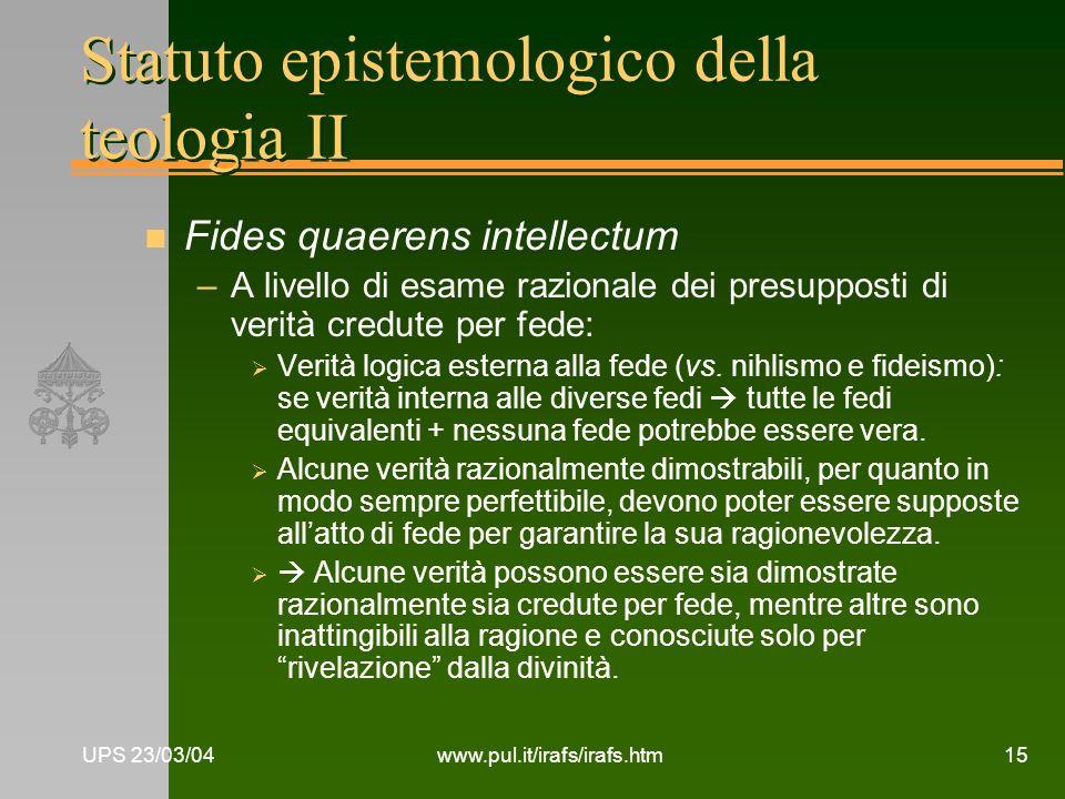 Statuto epistemologico della teologia II