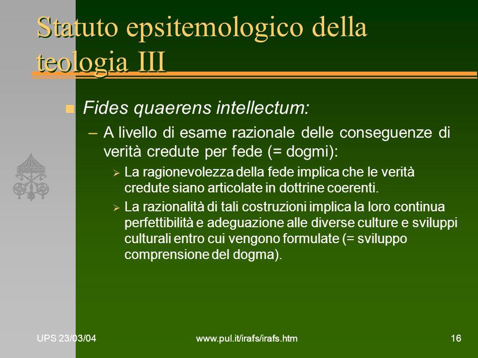 Statuto epsitemologico della teologia III