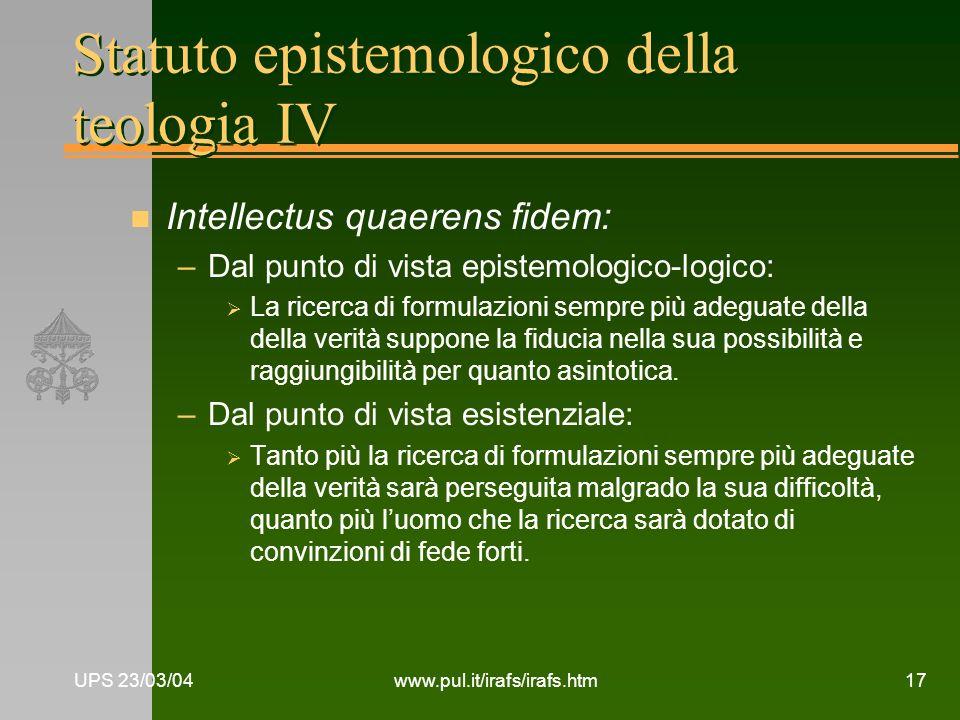 Statuto epistemologico della teologia IV