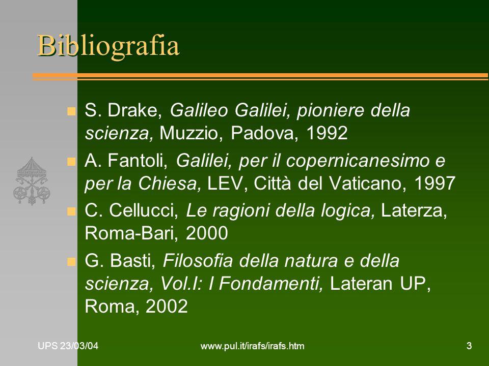 Bibliografia S. Drake, Galileo Galilei, pioniere della scienza, Muzzio, Padova, 1992.