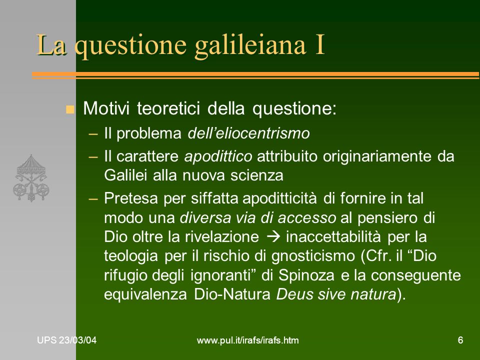 La questione galileiana I