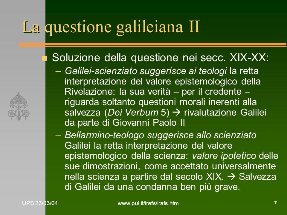 La questione galileiana II
