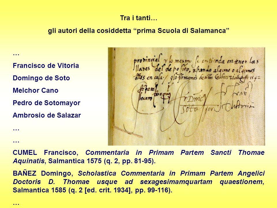 gli autori della cosiddetta prima Scuola di Salamanca