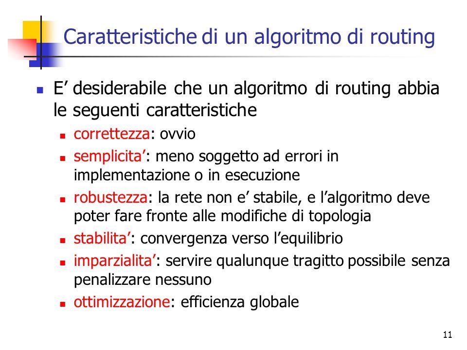 Caratteristiche di un algoritmo di routing