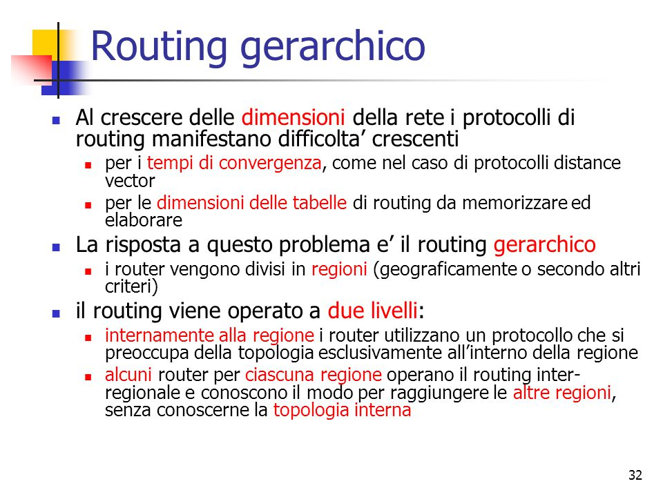 Routing gerarchico Al crescere delle dimensioni della rete i protocolli di routing manifestano difficolta' crescenti.