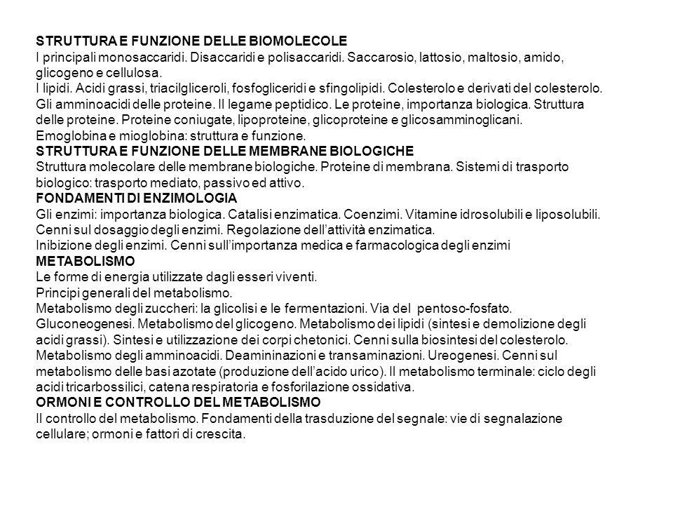 STRUTTURA E FUNZIONE DELLE BIOMOLECOLE