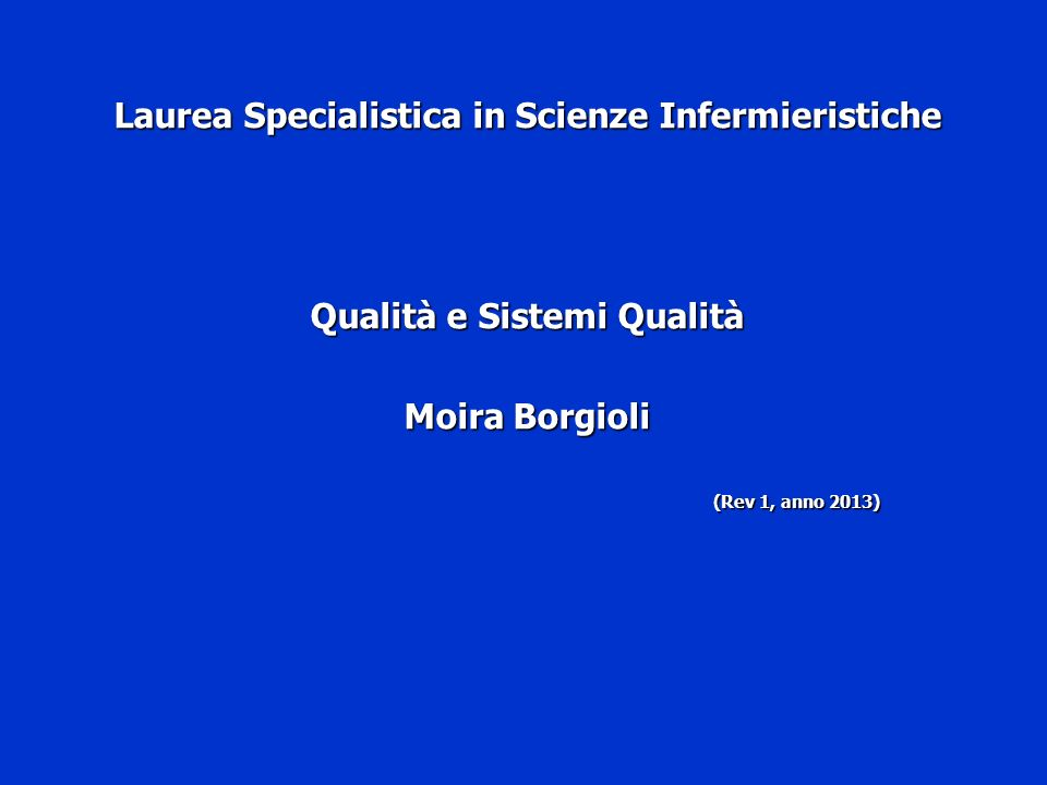 Laurea Specialistica in Scienze Infermieristiche