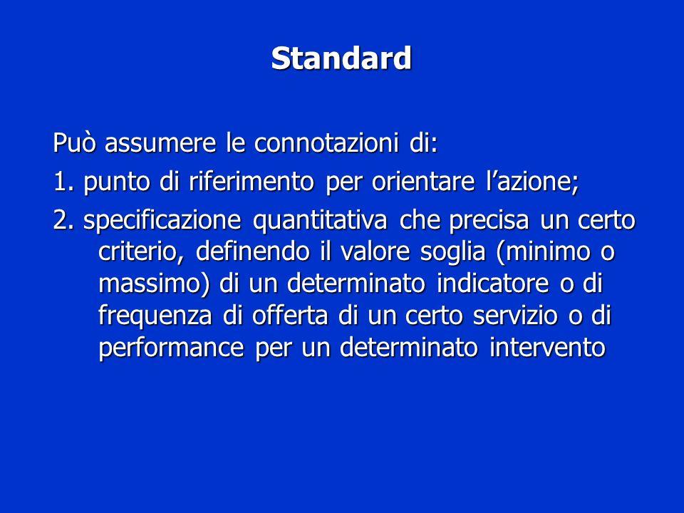 Standard Può assumere le connotazioni di:
