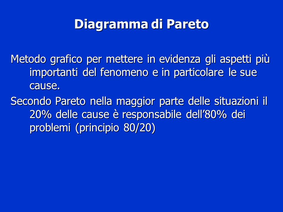 Diagramma di ParetoMetodo grafico per mettere in evidenza gli aspetti più importanti del fenomeno e in particolare le sue cause.