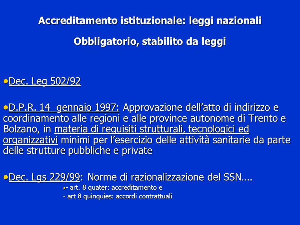 Accreditamento istituzionale: leggi nazionali