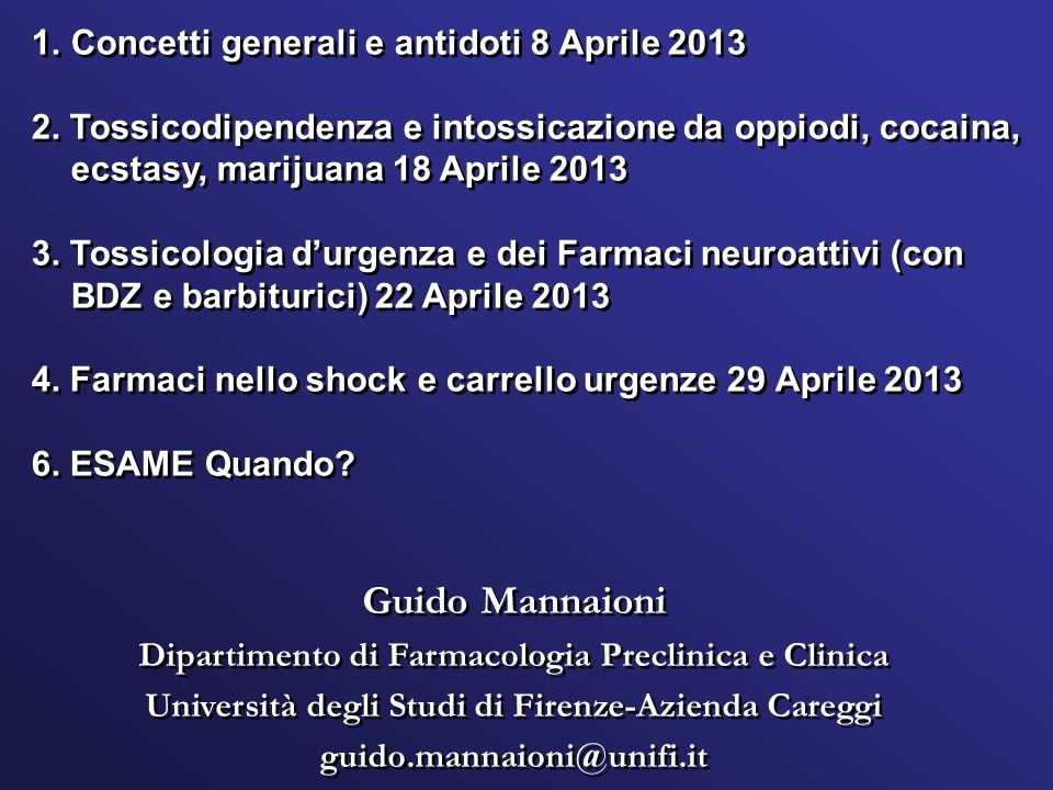 Guido Mannaioni Concetti generali e antidoti 8 Aprile 2013