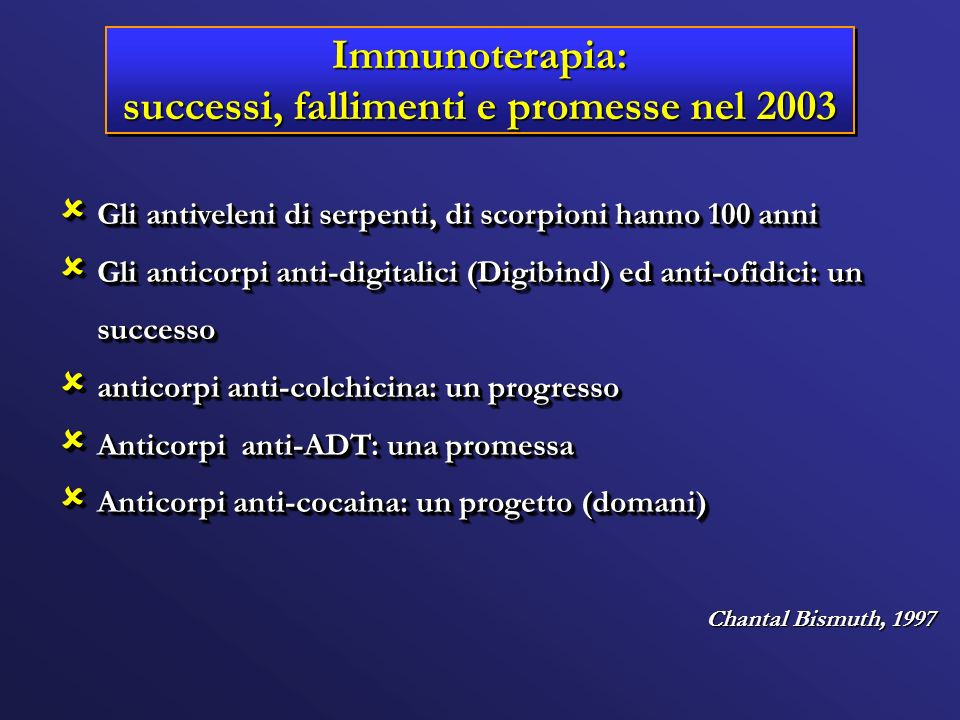 Immunoterapia: successi, fallimenti e promesse nel 2003