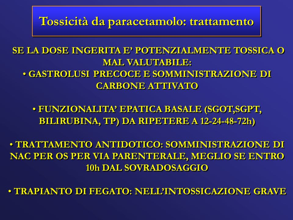 Tossicità da paracetamolo: trattamento