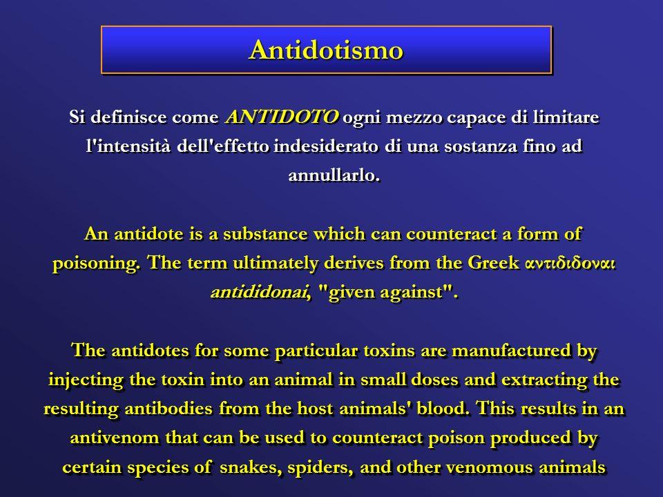 Antidotismo Si definisce come ANTIDOTO ogni mezzo capace di limitare l intensità dell effetto indesiderato di una sostanza fino ad annullarlo.