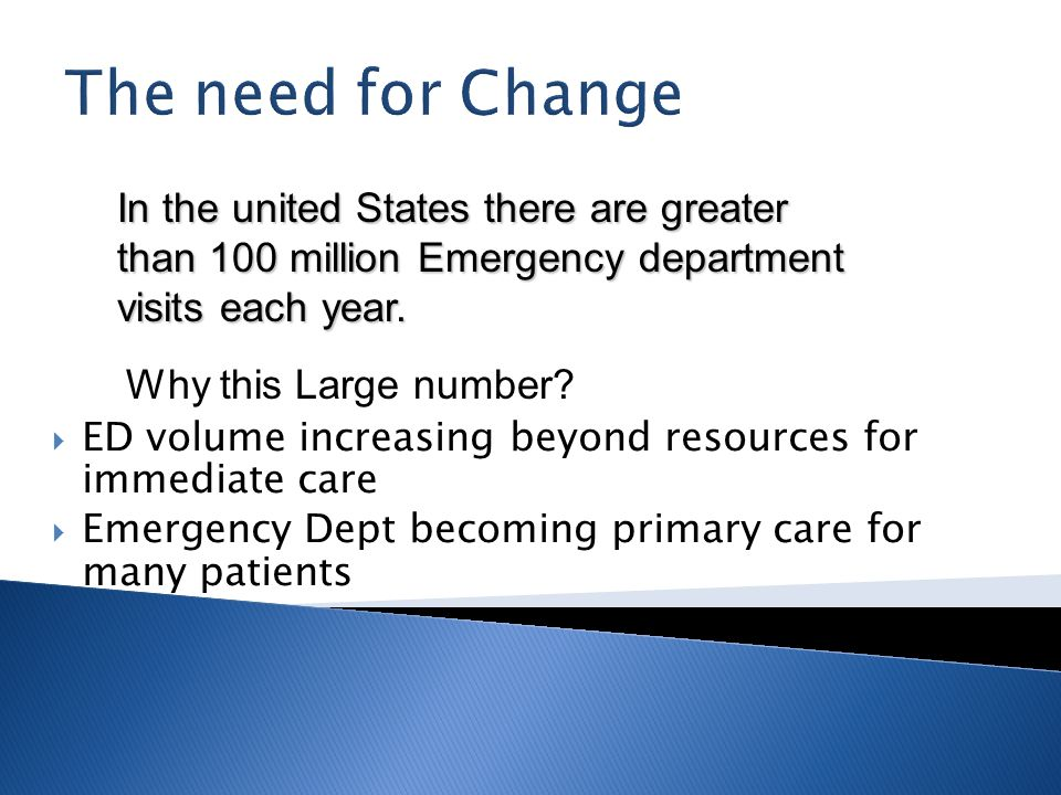 The need for Change In the united States there are greater than 100 million Emergency department visits each year.