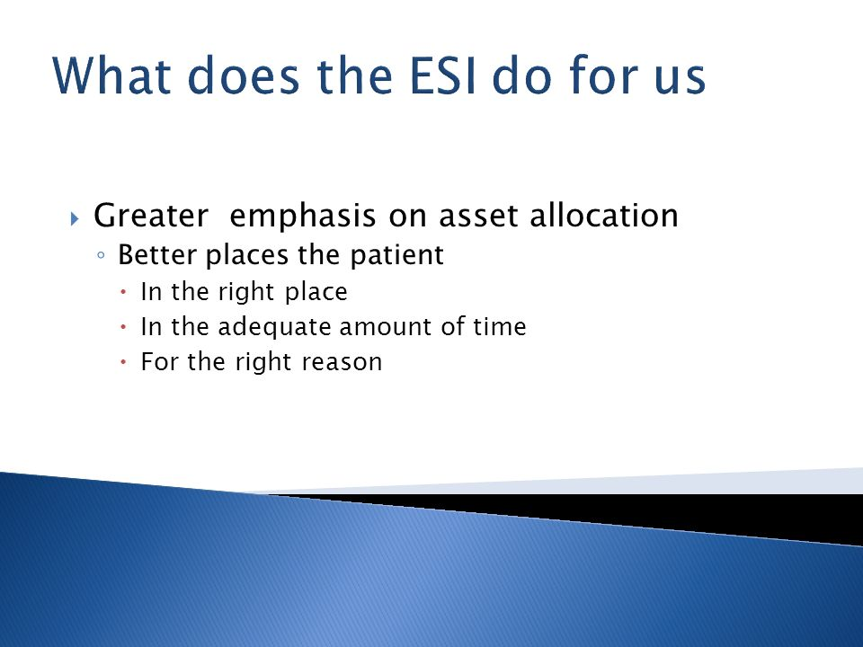 What does the ESI do for us