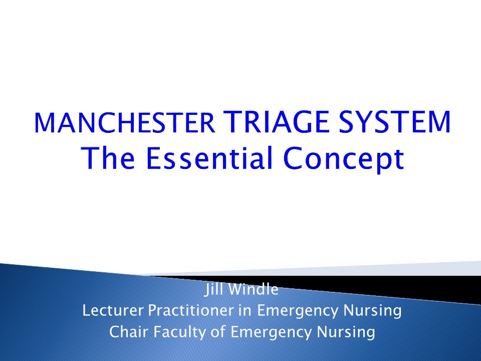MANCHESTER TRIAGE SYSTEM The Essential Concept