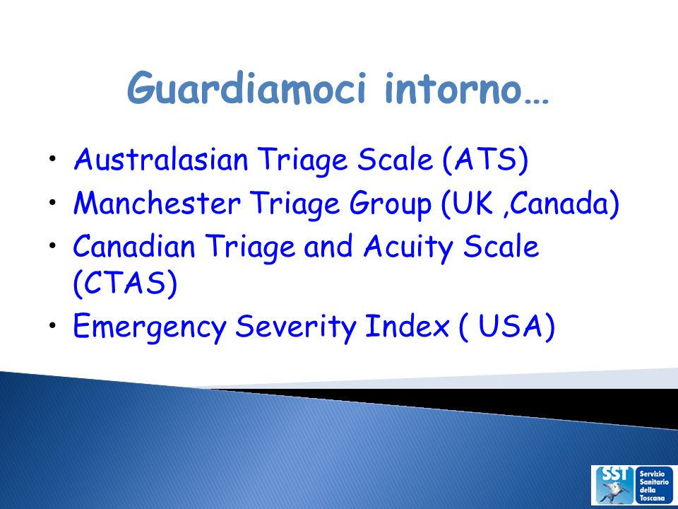 Guardiamoci intorno… Australasian Triage Scale (ATS)‏