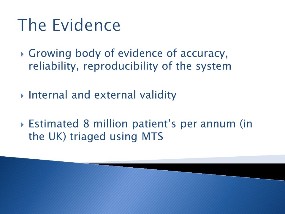 The EvidenceGrowing body of evidence of accuracy, reliability, reproducibility of the system. Internal and external validity.
