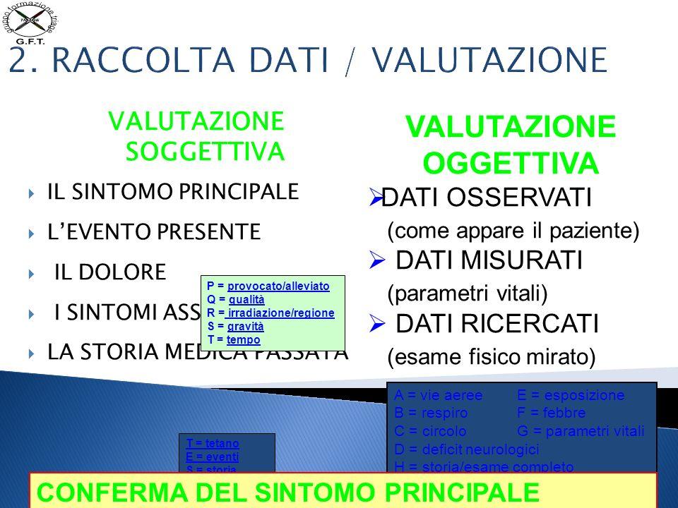 2. RACCOLTA DATI / VALUTAZIONE