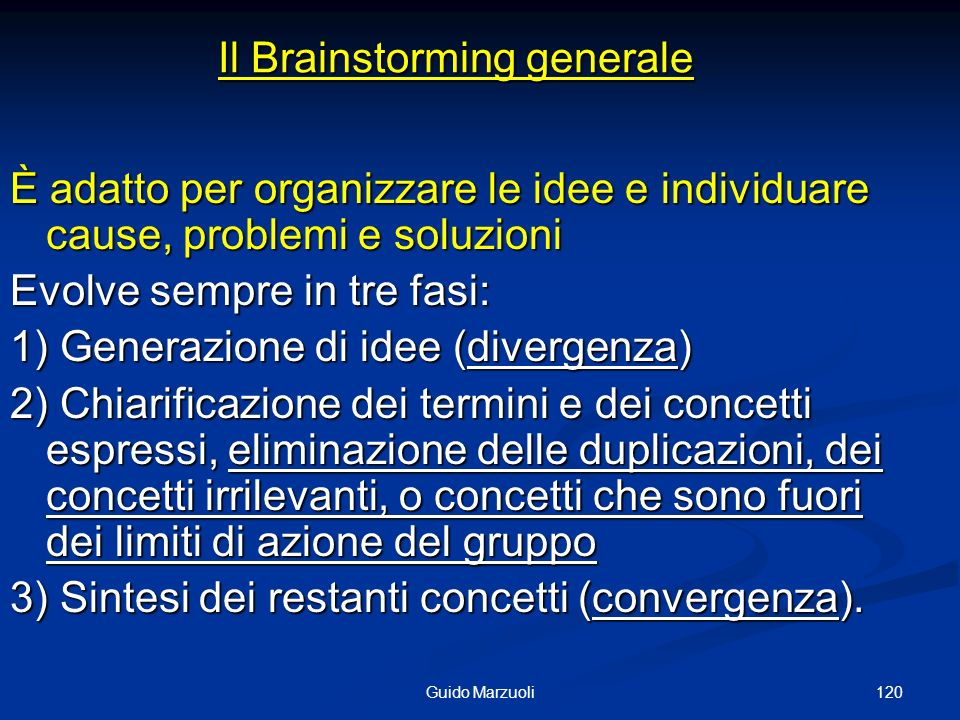Il Brainstorming generale