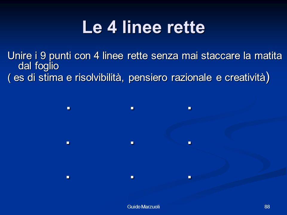 Le 4 linee rette Unire i 9 punti con 4 linee rette senza mai staccare la matita dal foglio.