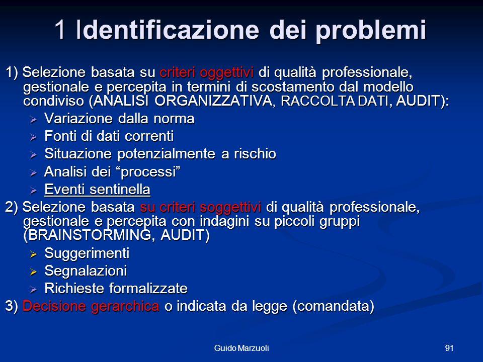1 Identificazione dei problemi