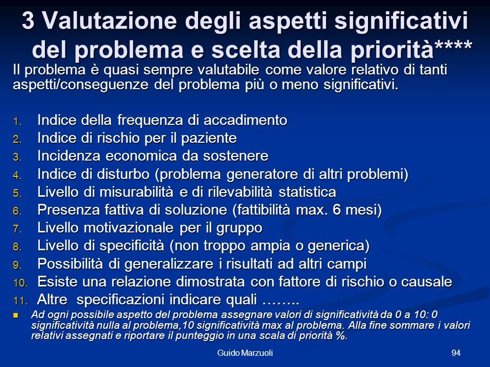 3 Valutazione degli aspetti significativi del problema e scelta della priorità****