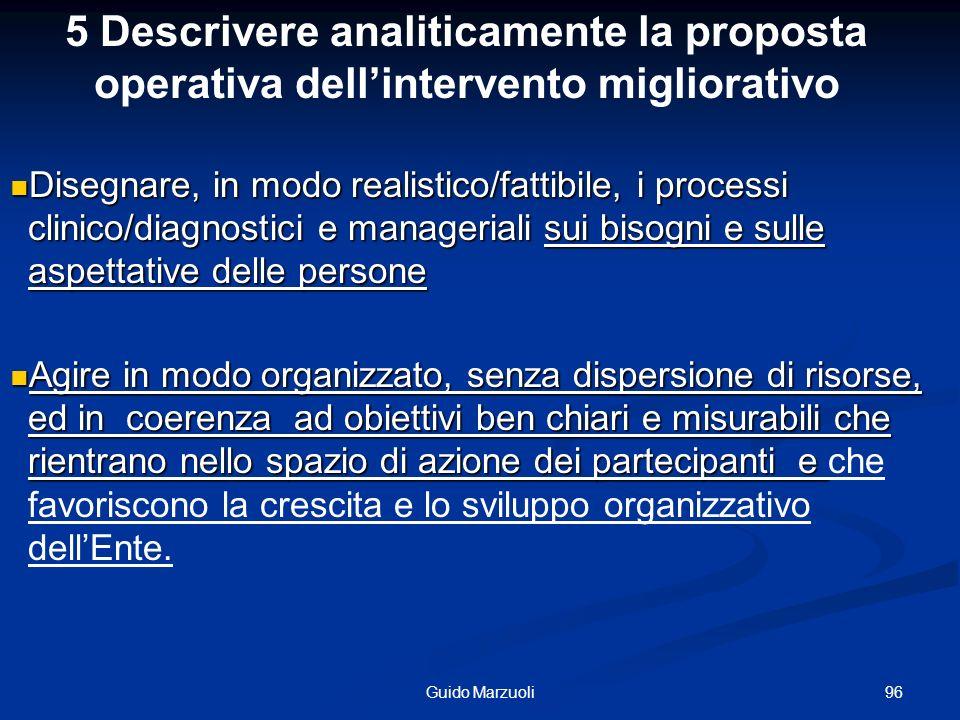 5 Descrivere analiticamente la proposta operativa dell'intervento migliorativo