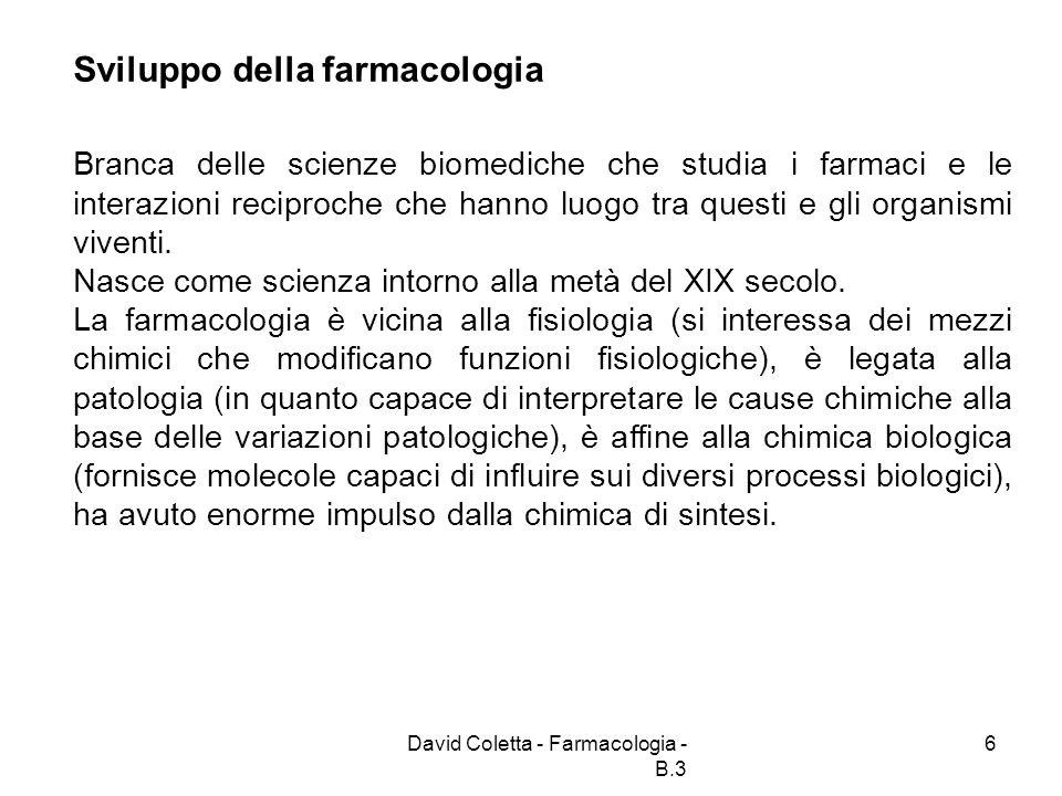 Sviluppo della farmacologia