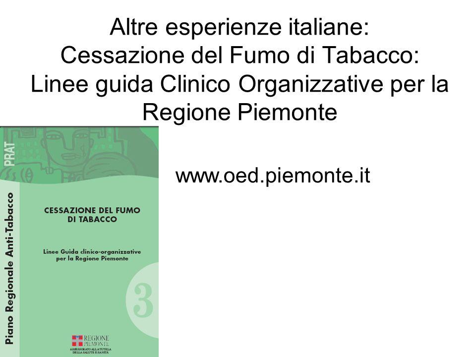 Altre esperienze italiane: Cessazione del Fumo di Tabacco: Linee guida Clinico Organizzative per la Regione Piemonte