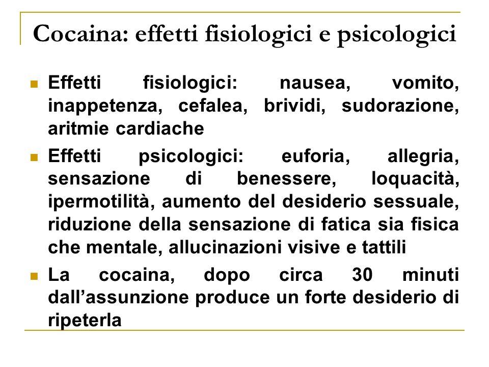 Cocaina: effetti fisiologici e psicologici