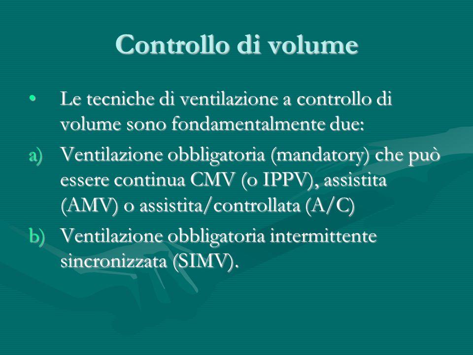 Controllo di volume Le tecniche di ventilazione a controllo di volume sono fondamentalmente due: