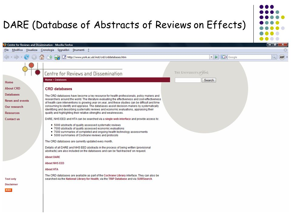 DARE (Database of Abstracts of Reviews on Effects)