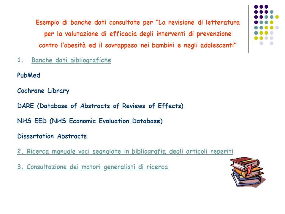 Esempio di banche dati consultate per La revisione di letteratura per la valutazione di efficacia degli interventi di prevenzione contro l'obesità ed il sovrappeso nei bambini e negli adolescenti
