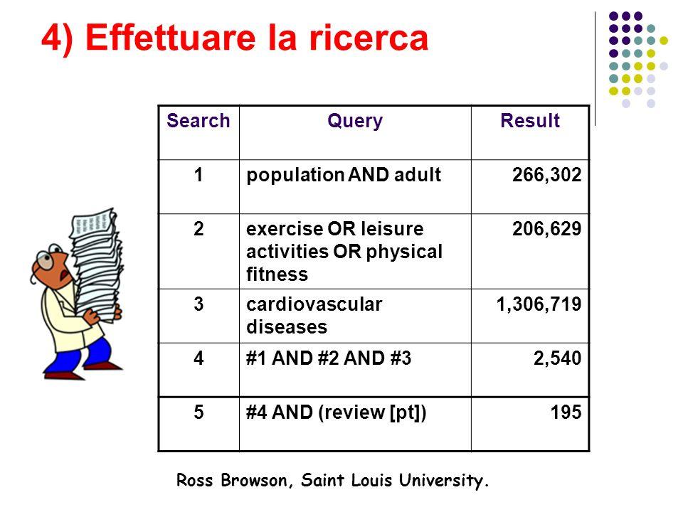 4) Effettuare la ricerca