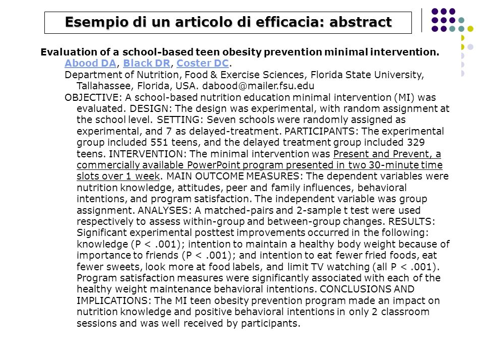 Esempio di un articolo di efficacia: abstract