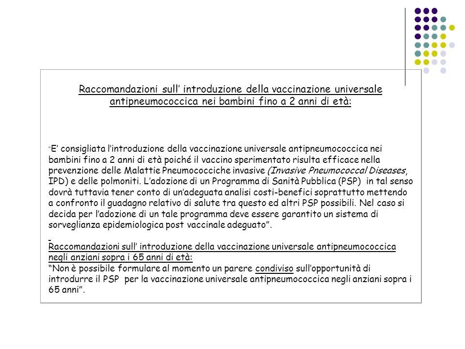 Raccomandazioni sull' introduzione della vaccinazione universale antipneumococcica nei bambini fino a 2 anni di età: