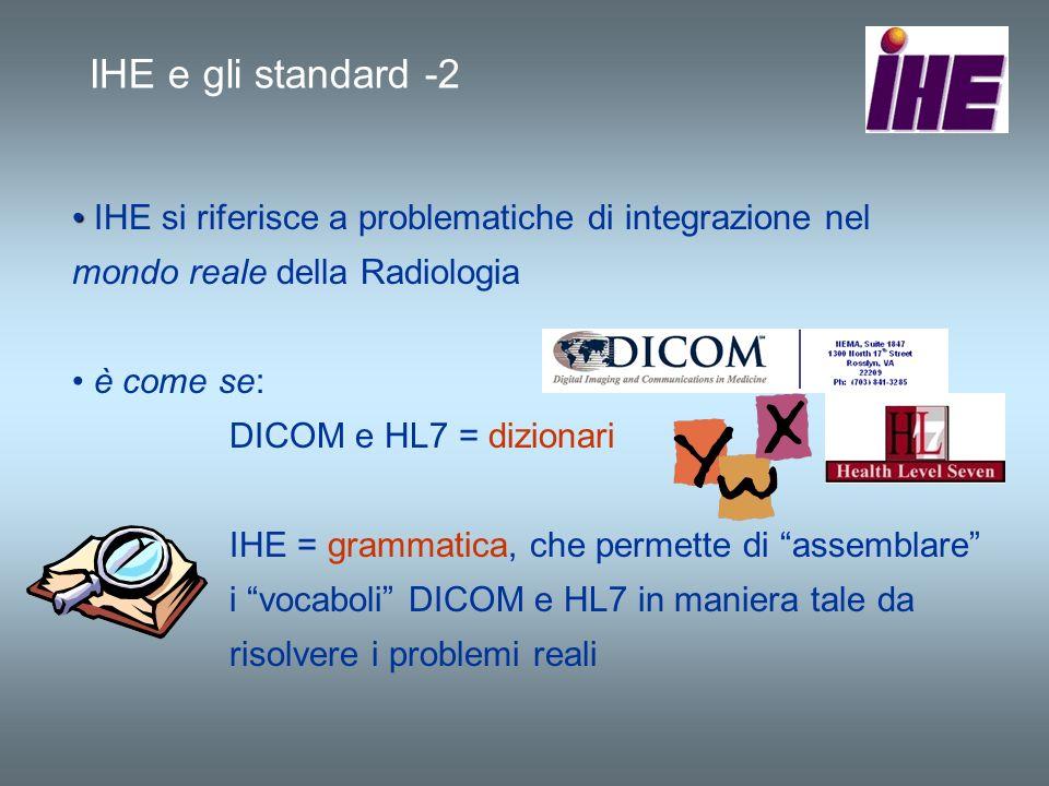 IHE e gli standard -2 IHE si riferisce a problematiche di integrazione nel mondo reale della Radiologia.